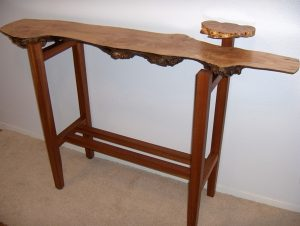 Tiers of Joy Hall Table in Salvaged American Bigleaf Maple with African Mahogany